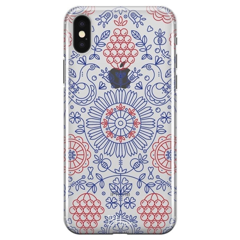 Blue Red Ornaments Coque iPhone X/XS