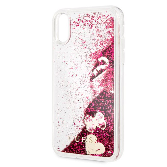 really comfortable high quality get cheap Guess Glitter Hearts Raspberry Coque iPhone XR