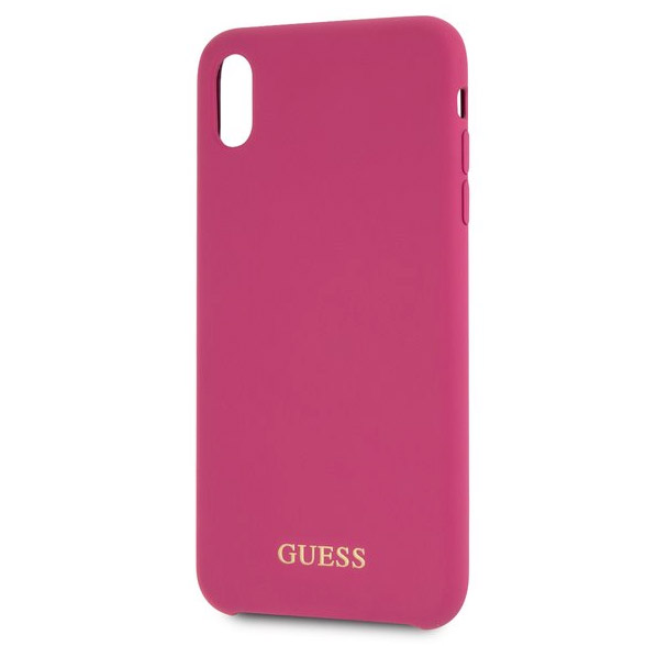Guess Silicone Gold Logo Pink Coque iPhone X/XS
