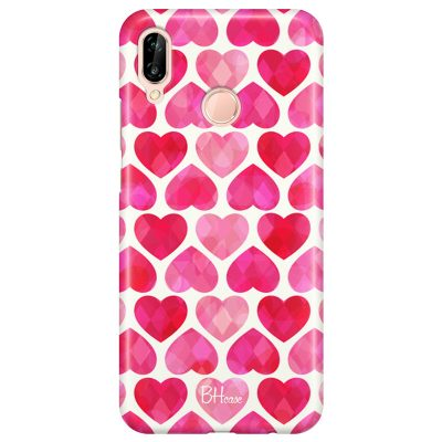 Hearts Pink Coque Huawei P20 Lite