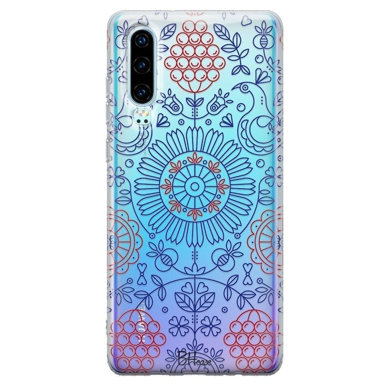 Blue Red Ornaments Coque Huawei P30