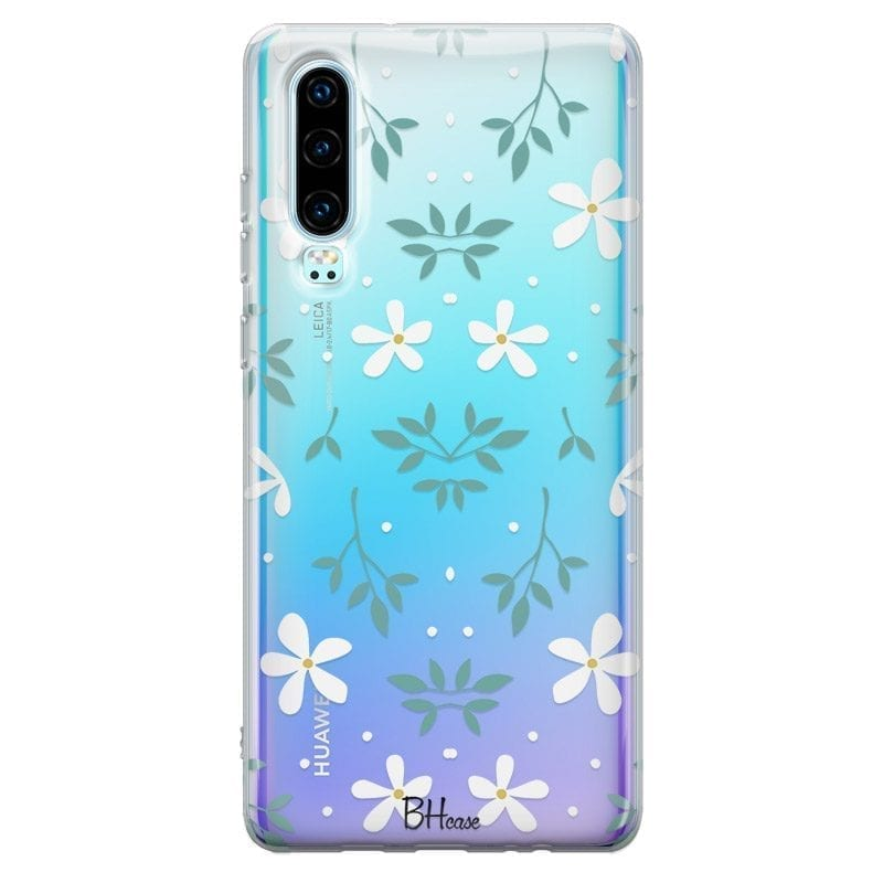 White Floral Case Huawei P30