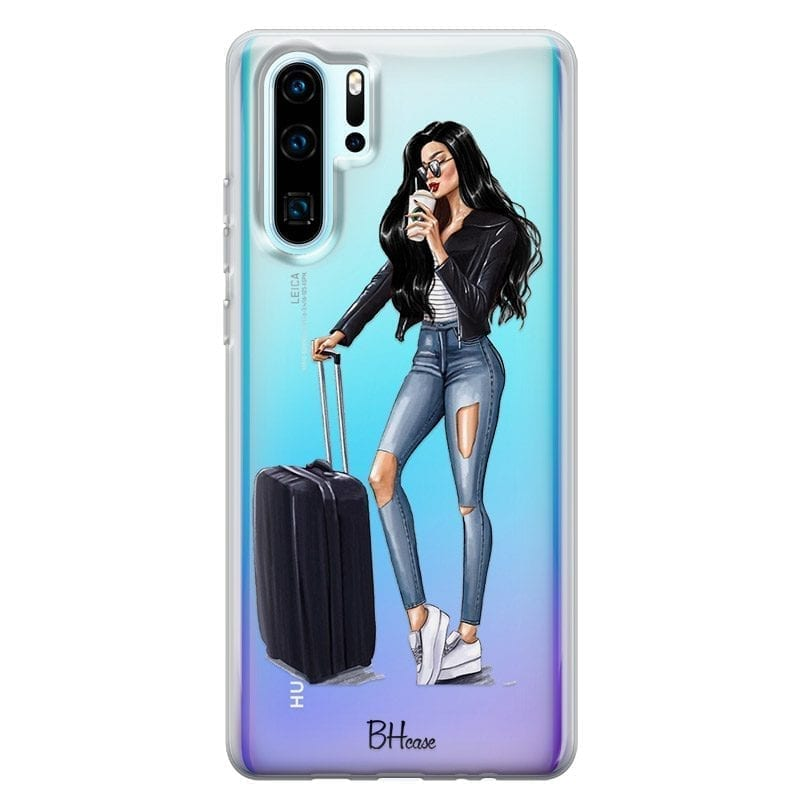 Woman Black Haired With Baggage Coque Huawei P30 Pro