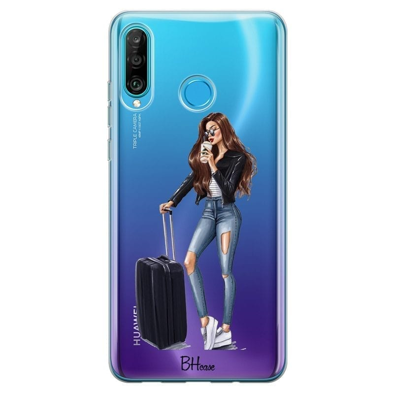 Woman Brunette With Baggage Coque Huawei P30 Lite