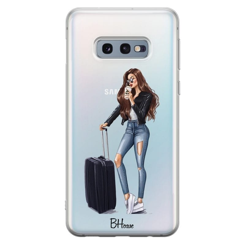 Woman Brunette With Baggage Coque Samsung S10e