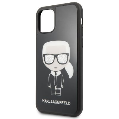 Karl Lagerfeld Glitter Iconic Body Black Coque iPhone 11
