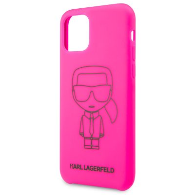 Karl Lagerfeld Silicone Black Out Pink Coque iPhone 11