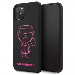 Karl Lagerfeld Silicone Pink Out Black Coque iPhone 11 Pro