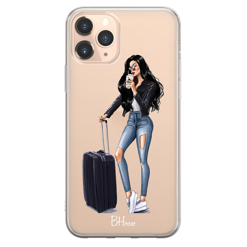 Woman Black Haired With Baggage Coque iPhone 11 Pro Max