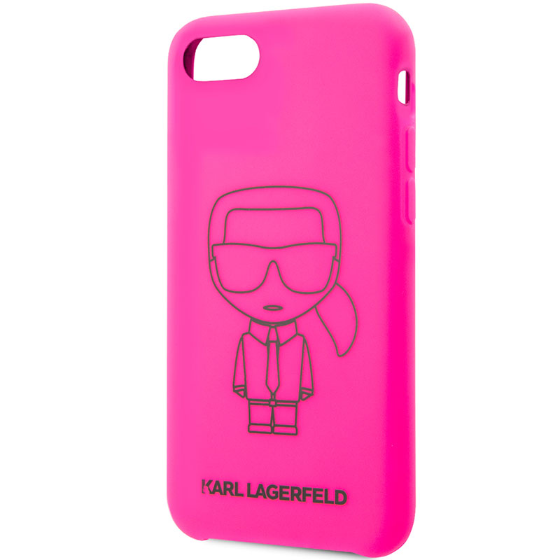 Karl Lagerfeld Silicone Black Out Pink Coque iPhone 8/7/SE 2 2020