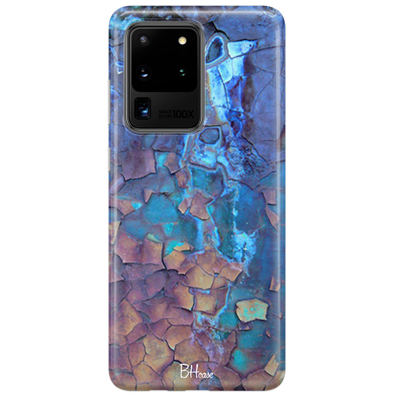 Stone Cracked Blue Coque Samsung S20 Ultra