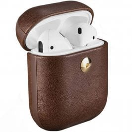 iCarer Crazy Horse Leather Coque AirPods Coffee