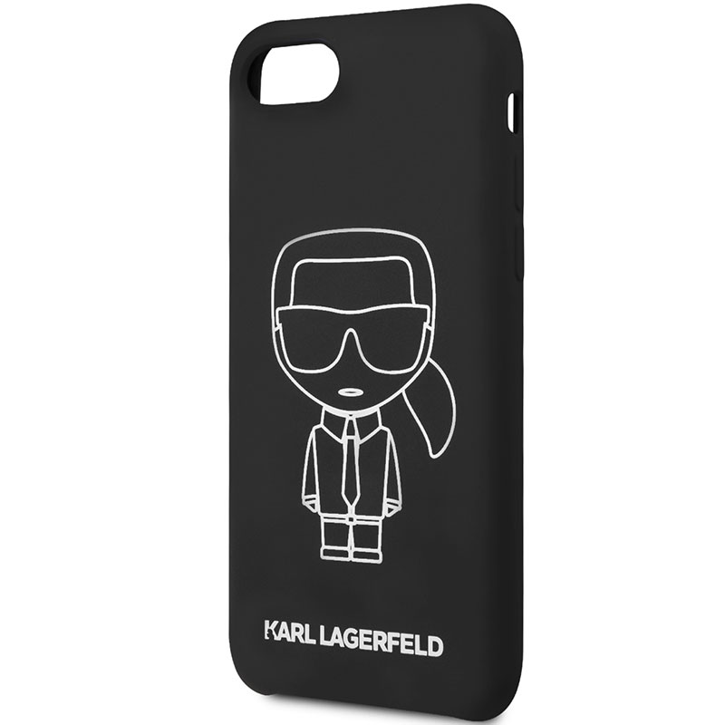 Karl Lagerfeld Silicone White Out Black Coque iPhone 8/7/SE 2 2020