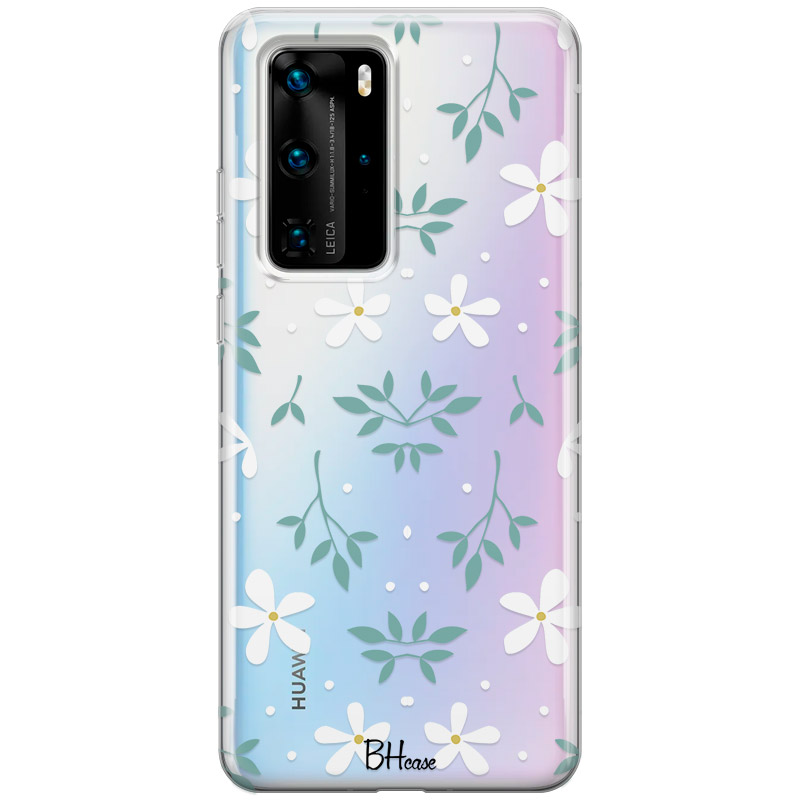 White Floral Coque Huawei P40 Pro