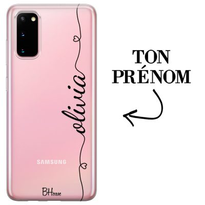 Coque avec coeur et nom Samsung S20