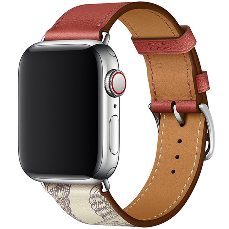 Leather Strap Apple Watch 42/44mm Brique Beton
