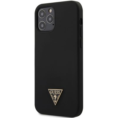 Guess Silicone Metal Triangle Black Coque iPhone 12/12 Pro