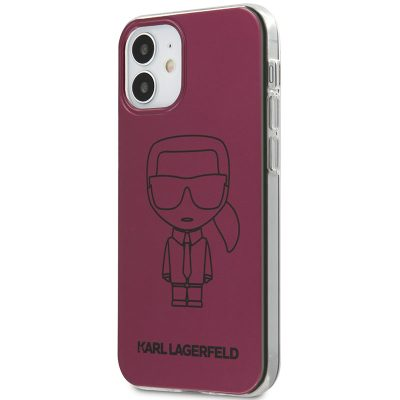 Karl Lagerfeld Iconic TPU Outline Metallic Pink Coque iPhone 12 Mini
