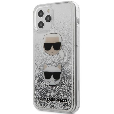Karl Lagerfeld Liquid Glitter 2 Heads Silver Coque iPhone 12/12 Pro