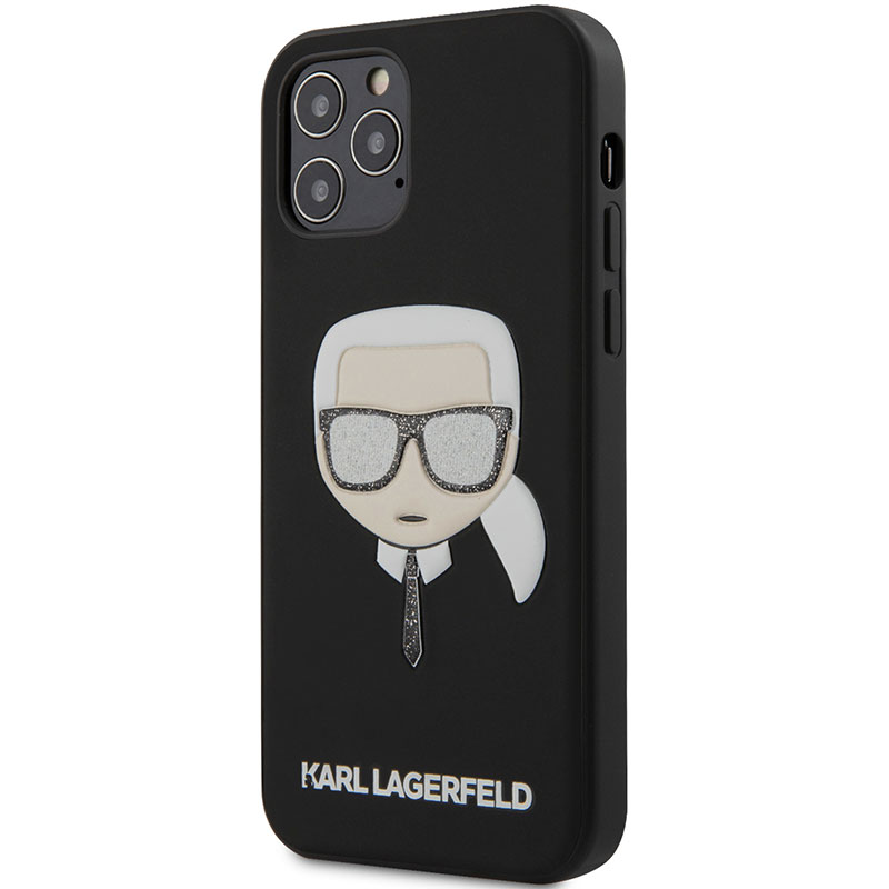 Karl Lagerfeld Liquid Glitter Head Black Coque iPhone 12/12 Pro