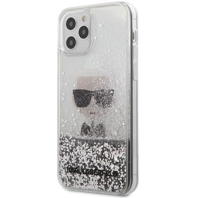 Karl Lagerfeld Liquid Glitter Iconic Silver Coque iPhone 12/12 Pro