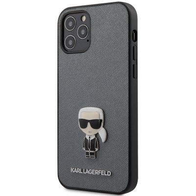 Karl Lagerfeld Saffiano Iconic Silver Coque iPhone 12/12 Pro