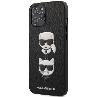 Karl Lagerfeld Saffiano K&C Heads Black Coque iPhone 12/12 Pro