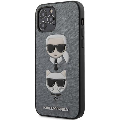 Karl Lagerfeld Saffiano K&C Heads Silver Coque iPhone 12/12 Pro